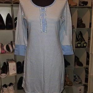 Izod blue stripe pajama gown size L